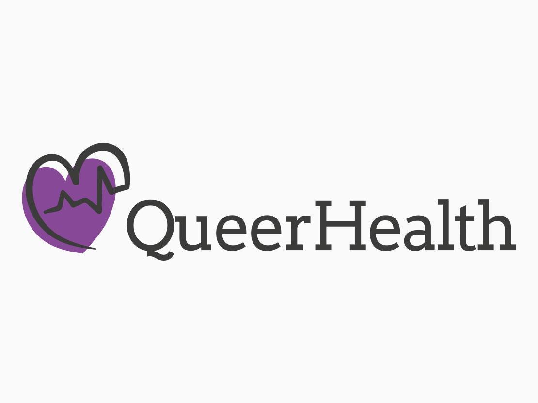 Das Logo von Queer Health auf weißem Hintergrund